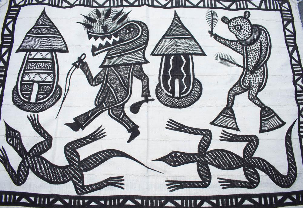 Handcrafted picture Mudcloth fabric from Mali, black and white MC249