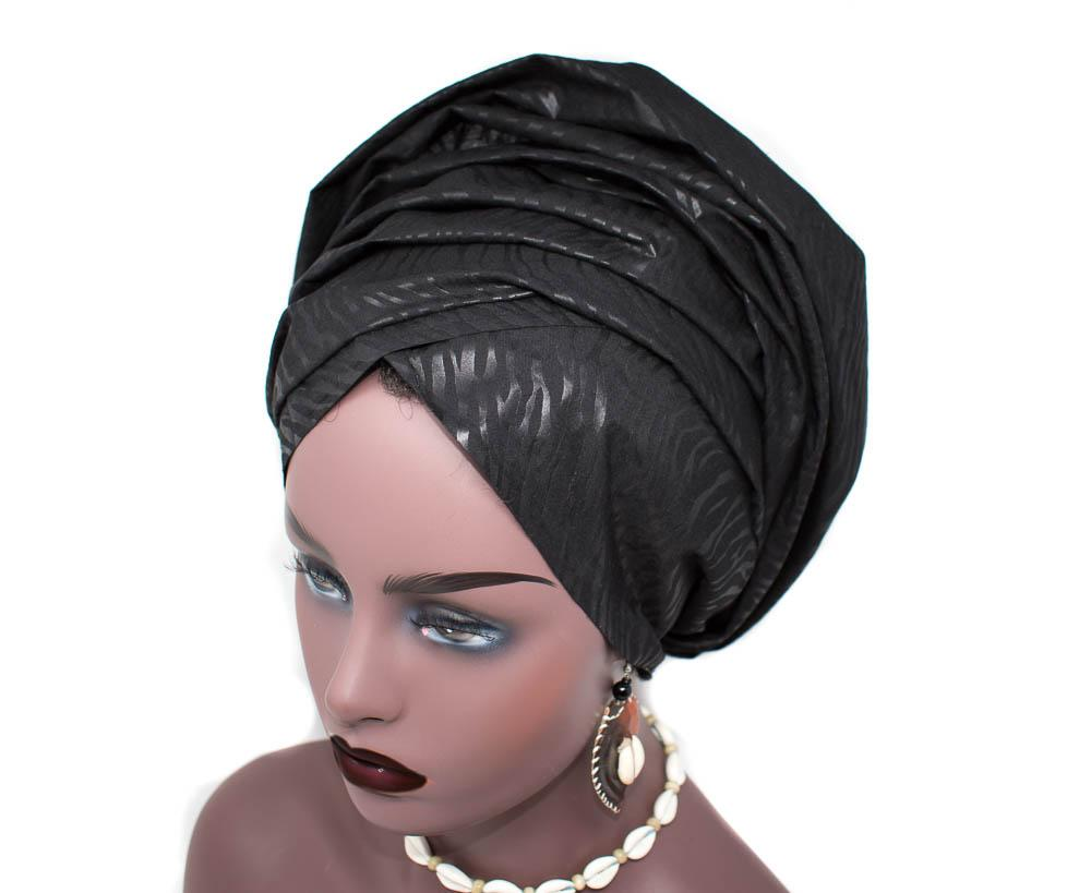 African Headwraps, black African fabric scarf HT281 - Tess World Designs, LLC