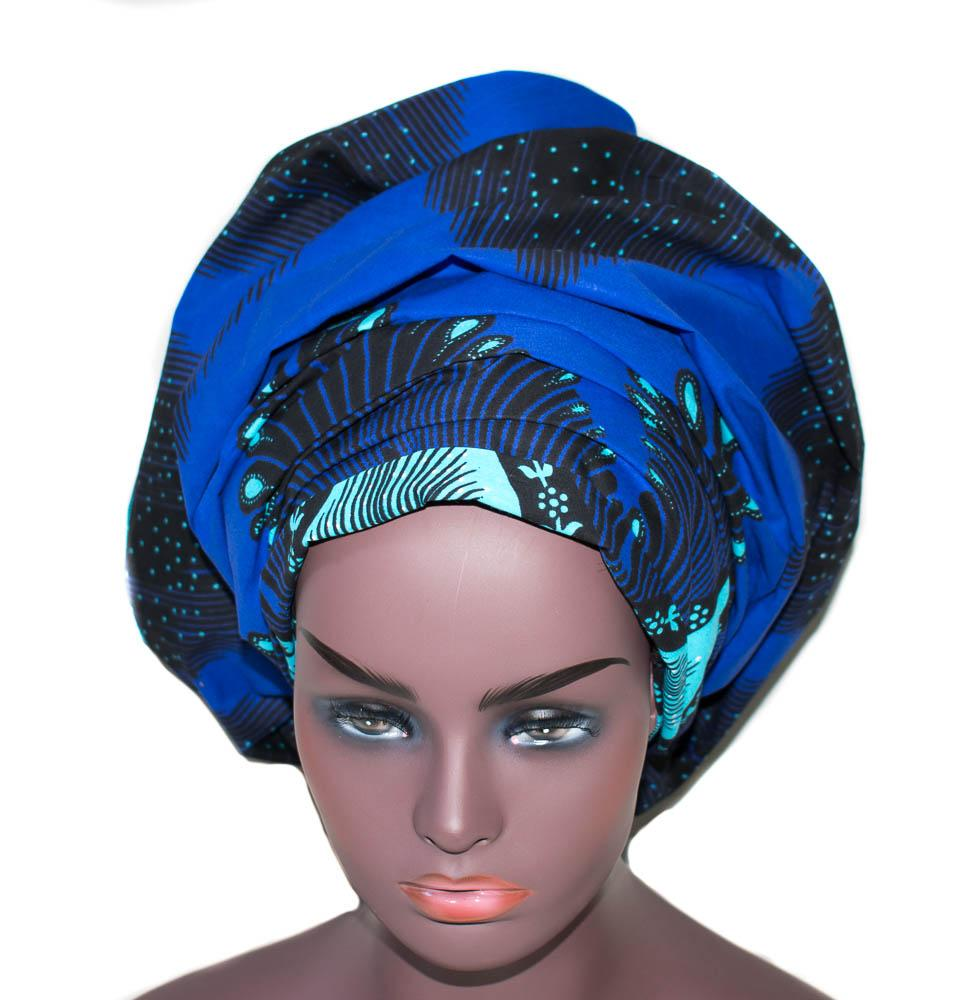 African Headwraps, African fabric, blue HT282 - Tess World Designs, LLC