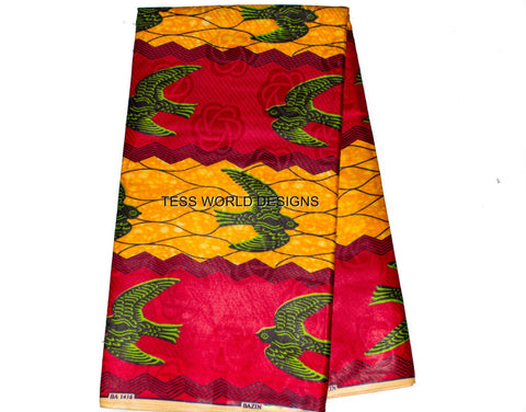 SB90- Bazin riche fabric, orange, red,  6 yards - Tess World Designs