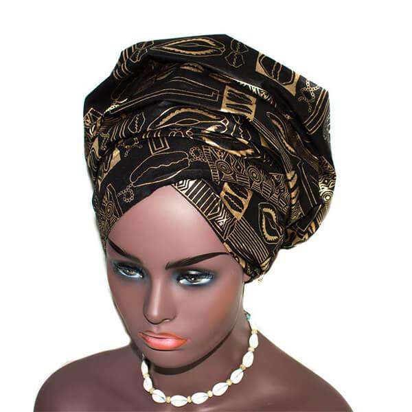 African Head wraps, black and gold, cowrie reversible HT135 - Tess World Designs, LLC