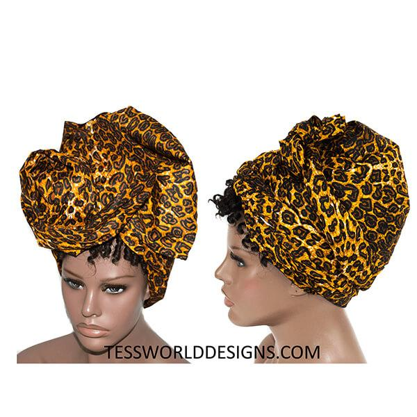 African Head wrap, brown animal print HT217 - Tess World Designs, LLC