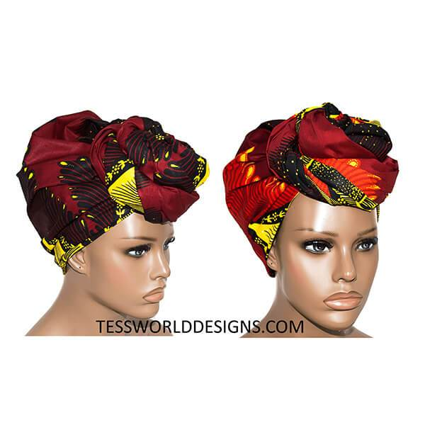 African Head Wrap, Maroon plume HT144 - Tess World Designs, LLC