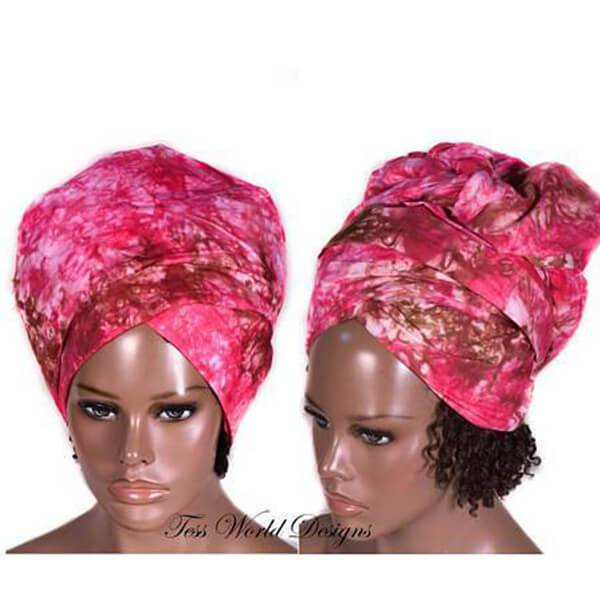 African Headwrap, Handmade batik  HT207 - Tess World Designs, LLC