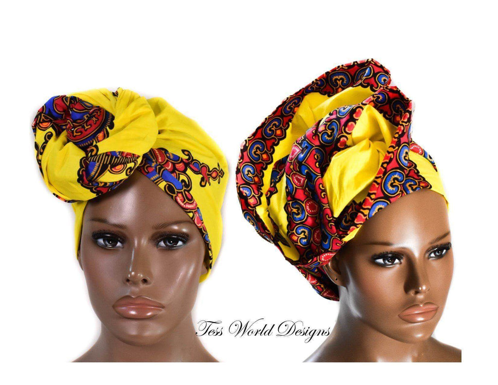 African Head Wraps, yellow star - HT213 - Tess World Designs, LLC