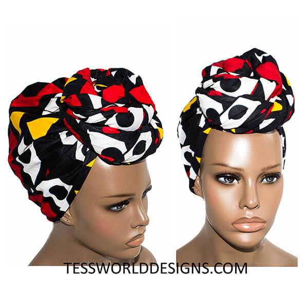 HT62 - African Head Wraps, Yellow, red, black and white