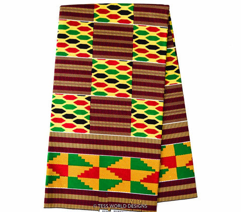 KF169- Red, Orange and green Kente Fabric,  6 yards - Tess World Designs