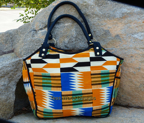 BG01 - Handmade African fabric bag, Julia tote. - Tess World Designs