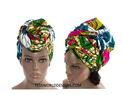 HT146 - Turban Head Wrap, Multi colored - Tess World Designs