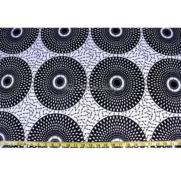 African fabric / 4 way stretch fabric/African inspired Black/ White circles ST08 - Tess World Designs, LLC