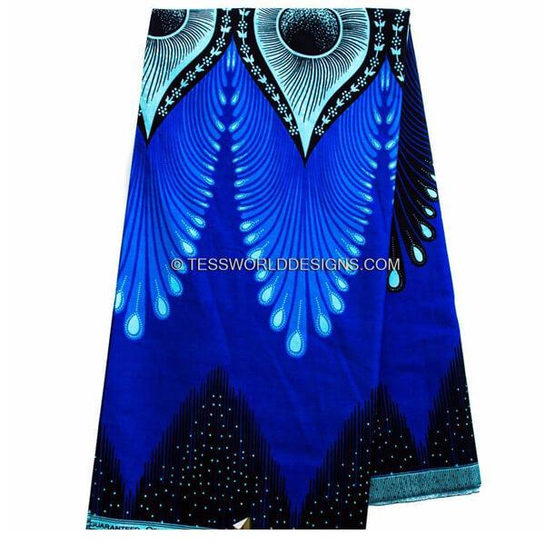 African fabric 6 yards/ Ankara fabric/ Plume royal blue WP851 - Tess World Designs, LLC