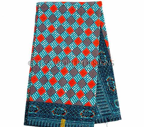 WP649- African Print Fabric-Wax Print Teal, RedOrange 6 yards - Tess World Designs