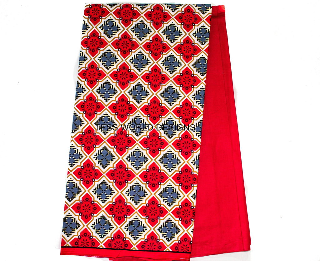 DV02- Two tone African fabrics, Red Diamond - Tess World Designs, LLC