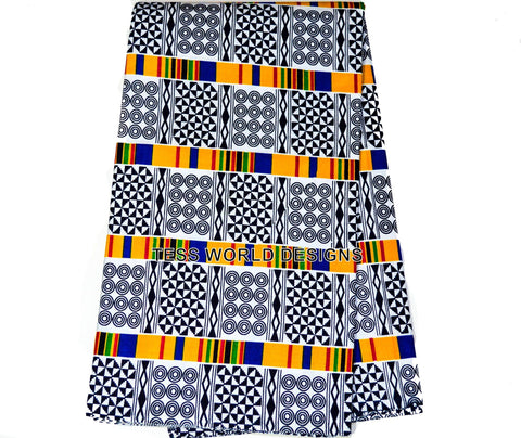 KF75 - Adinkra Kente fabric from Africa 6 Yards - Tess World Designs