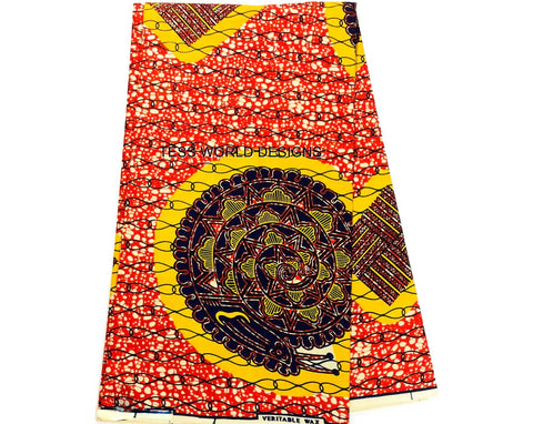 WP452 - African fabric, Yellow Snail 6 yards - Tess World Designs