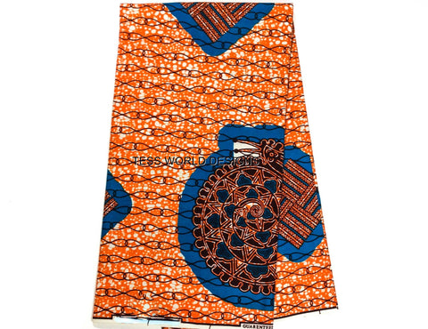 WP453 - African fabric, Blue Snail 6 yards - Tess World Designs