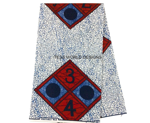 WP645 - African Print Fabric-White ABC, - Tess World Designs  - 1