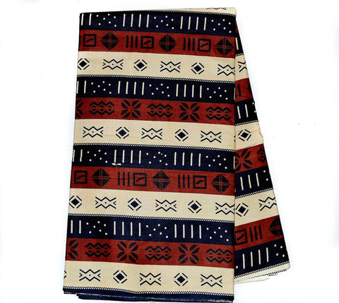TP56-Tribal Print , West African Fabric , Mudcloth Print black , 6 yards - Tess World Designs