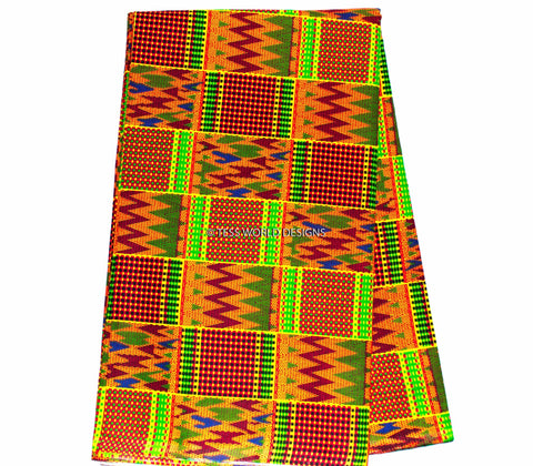 KF81 - Orange Kente Fabric- Weaves 6 yards - Tess World Designs