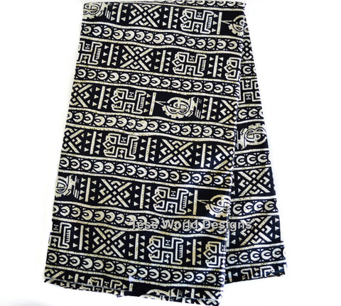 TP13 - Tribal Print Fabric,  Dogon musk black and cream 6 yards - Tess World Designs