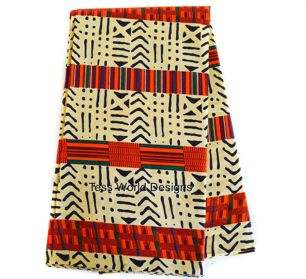 KF04- Kente fabric , beige from Africa 6 Yards - Tess World Designs