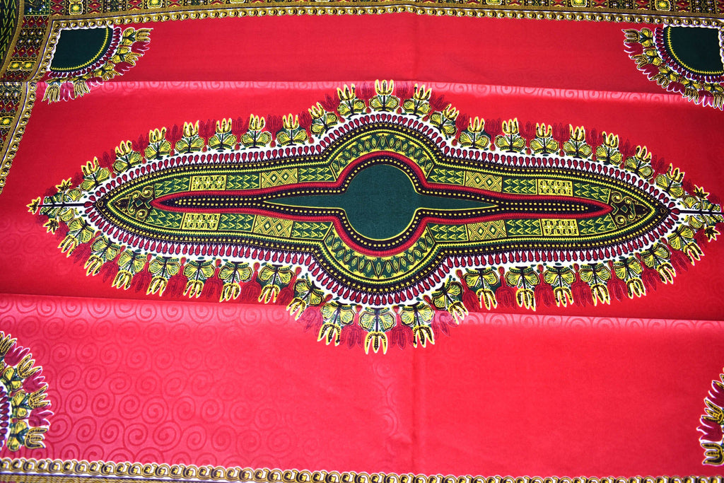 Red/dark green poly cotton Dashiki Fabric 6 yards/ DS102