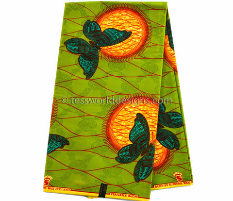 SB84- Bazin riche fabric, Olive/Orange  6 yards - Tess World Designs