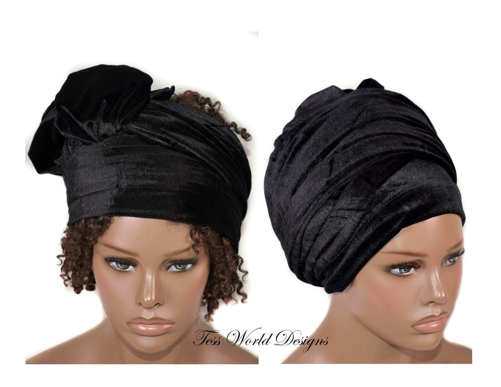 Turban headwrap, black Velvet tubular  HT205
