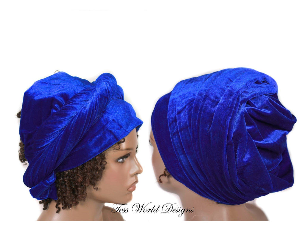 Turban headwrap, royal blue  Velvet tubular  HT206