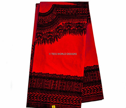 WP634 - Black and Red Dashiki Fabric, large design, 6 yards - Tess World Designs  - 1