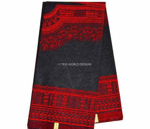 DS17 - Red and Black Dashiki Fabric, Large design, 6 yards - Tess World Designs  - 1