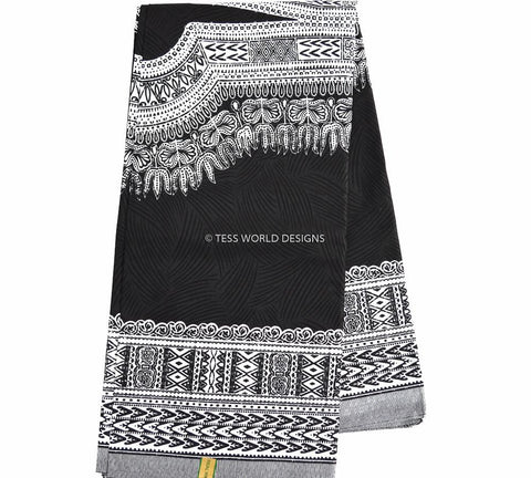 DS18 - Black and white Dashiki Fabric, Large design , 6 yards - Tess World Designs  - 1