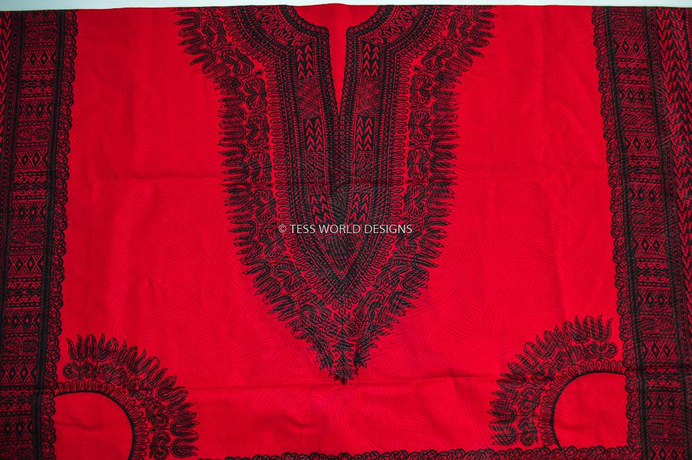 Black and Red Dashiki Fabric, large design, 6 yards -DS43 - Tess World Designs, LLC