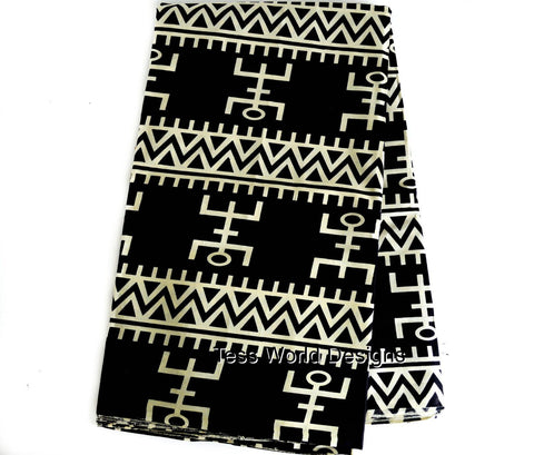Dogon mask symbol , Tribal print , Sold per Yard  WP177B