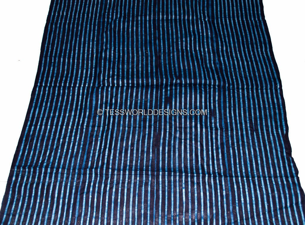 Authentic hand crafted thin indigo mudcloth from Guinea GMC02 - Tess World Designs, LLC
