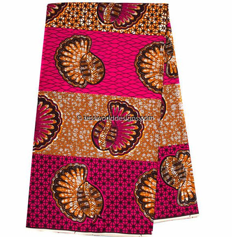 SW57B - African Fabrics , Fuchsia and Brown, 6 yards