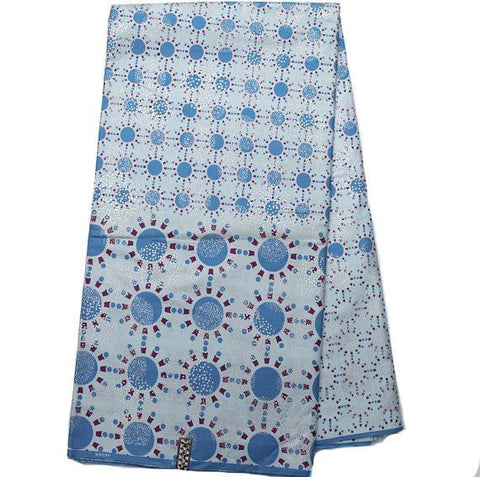 W22 - AUTHENTIC WOODIN FABRIC , Made in Ghana / blue , 6 yards