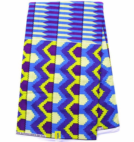 KF325 - African Fabrics , Ghana Kente Blue, 6 yards