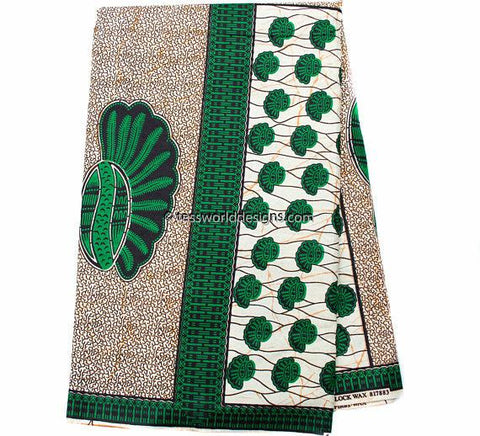 WP1031B - African Fabrics , Green Wax Block, 6 yards