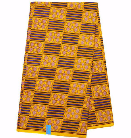 KF259 - Gold and Blue Kente cloth, 6 yards