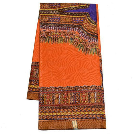 Orange/Purple Dashiki Fabric, Large design 6 yards DS97