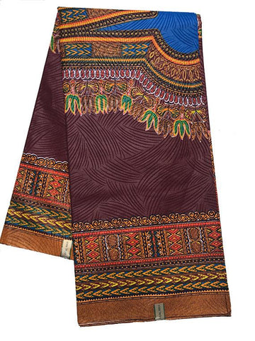DS87 -  Brown/ Blue Dashiki Fabric, Large design 6 yards