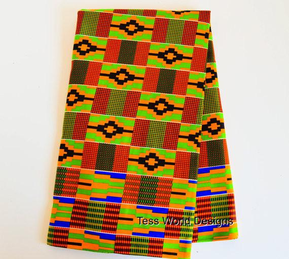 KF083 - Kente fabric from Africa Green, Orange 6 Yards - Tess World Designs