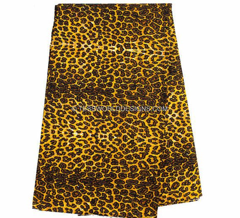 WP717- African Fabric- Leopard print , 6 yards