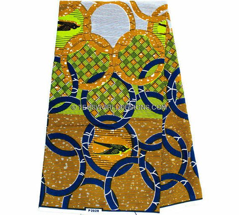 WP732 - African Fabrics- Green African Print 6 yards