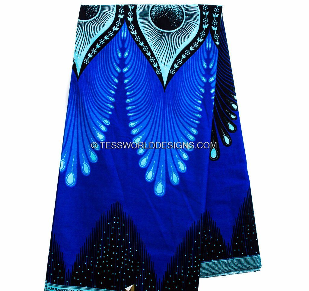 African fabric by the yard/ Ankara fabric/ Plume royal blue WP851B - Tess World Designs, LLC