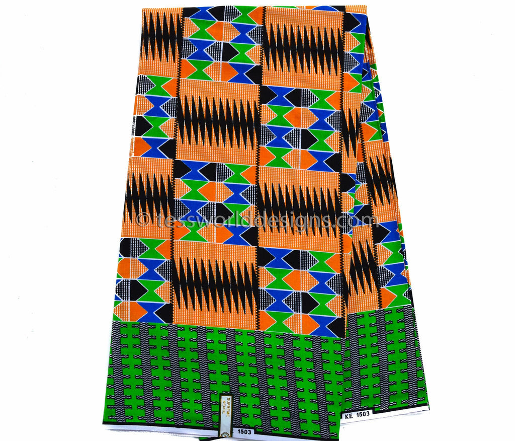 KF202 - Kente Fabric, orange, green blue 6 yards - Tess World Designs