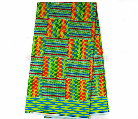 KF183 -Green, Orange, Kente Fabric, Queen 6 yards - Tess World Designs
