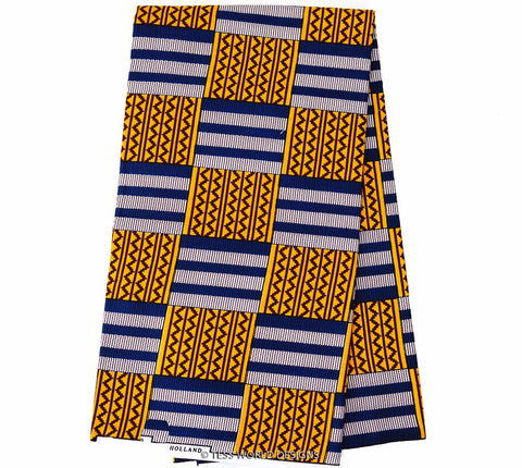 KF197 -  Kente Fabric,Orange,Navy 6 yards - Tess World Designs