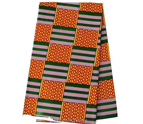 KF195-  Kente Fabric,Orange,Green 6 yards - Tess World Designs